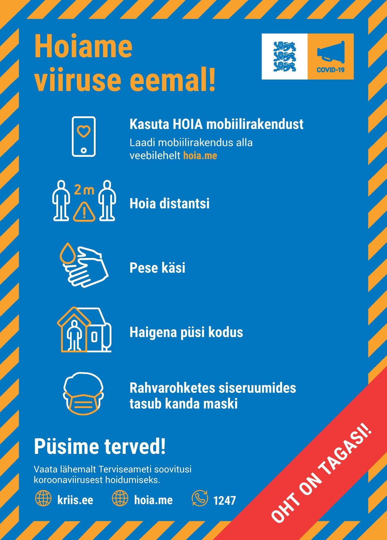 Meeldetuletus COVID19 ennetusmeetmetest – HOIAME VIIRUSE EEMAL!