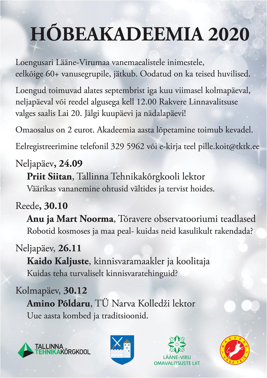 Rakvere linnavalitsuse 12.10.2020 istungi päevakord kell 15:00