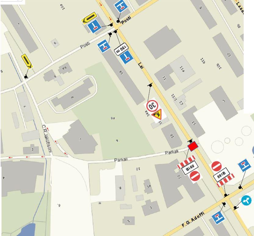 Remonttööd sulevad Laial tänaval Parkali ja F. G. Adoffi vahelisel lõigul liikluse